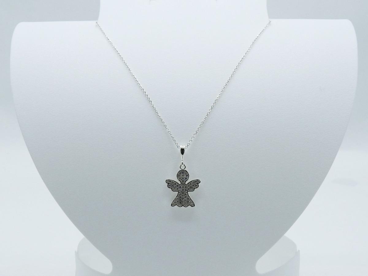 cd203534f4ed cadena dije plata ley 925 dama angel zirconias largo 47cm. Cargando zoom.