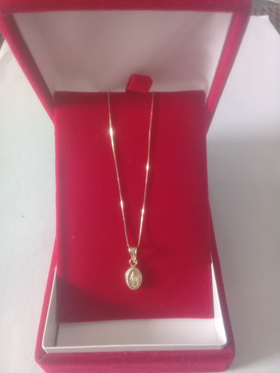 5774810429bb Cadena En Oro 18k Italiano 40cm Para Bebe + Virgen Milagrosa ...