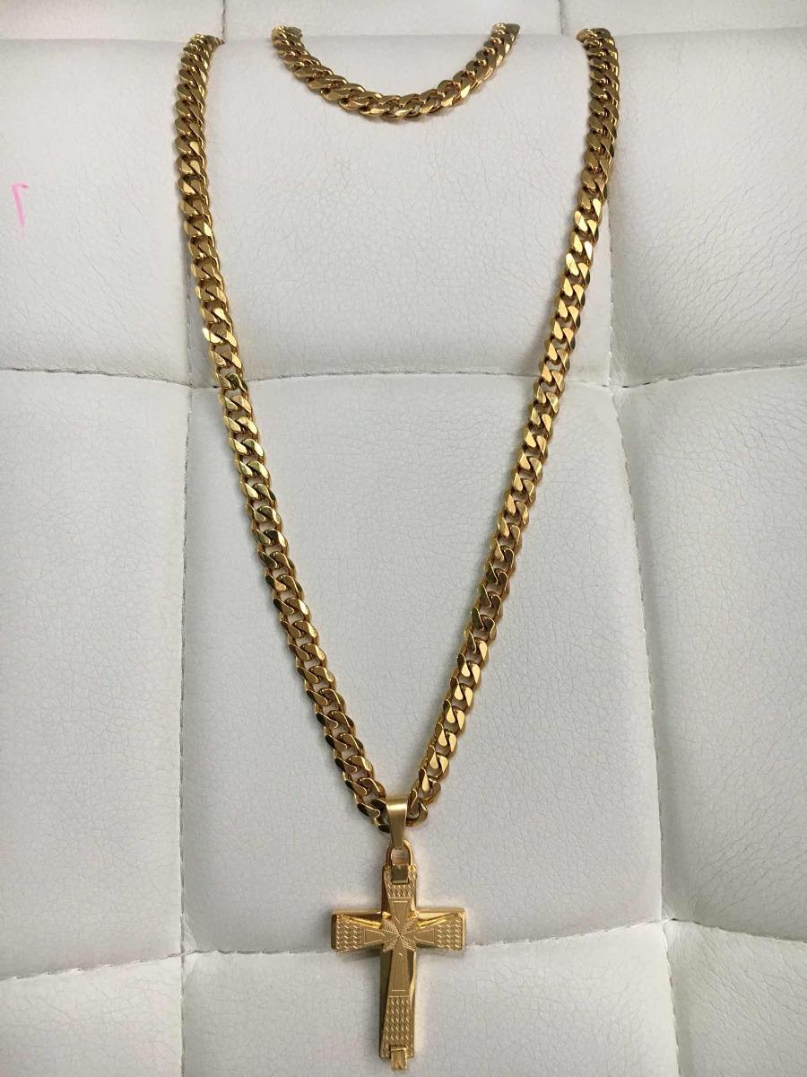 ade8711b2125 cadena + esclava+dije tejido cubano acero enchape en oro 18k. Cargando zoom.