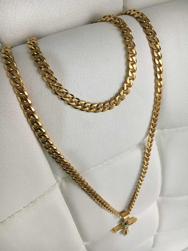 cadena + esclava+dije tejido cubano acero enchape en oro 18k