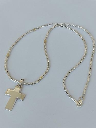 cadena espiga por 60cm con dije cruz plata y oro (di14)