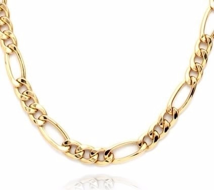 cadena figaro 3 x 1 de oro macizo 14k 60cm pesa 15gr y 4.5mm