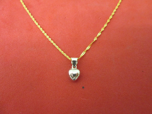 cadena gargantilla corazón dama oro solido 10 kilates