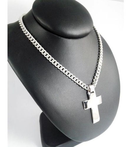 cadena groumet 5mm 60cm cruz maciza hombre plata 925 cuotas
