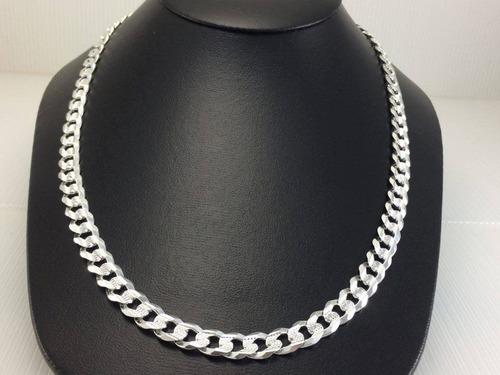 cadena gruesa cubana de plata doble vista diamantada y lisa