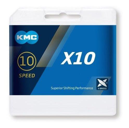 cadena kmc x10 1/2x11/128   10v negra/plata