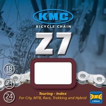 cadena kmc z7 116 eslabones 24 velocidades plata