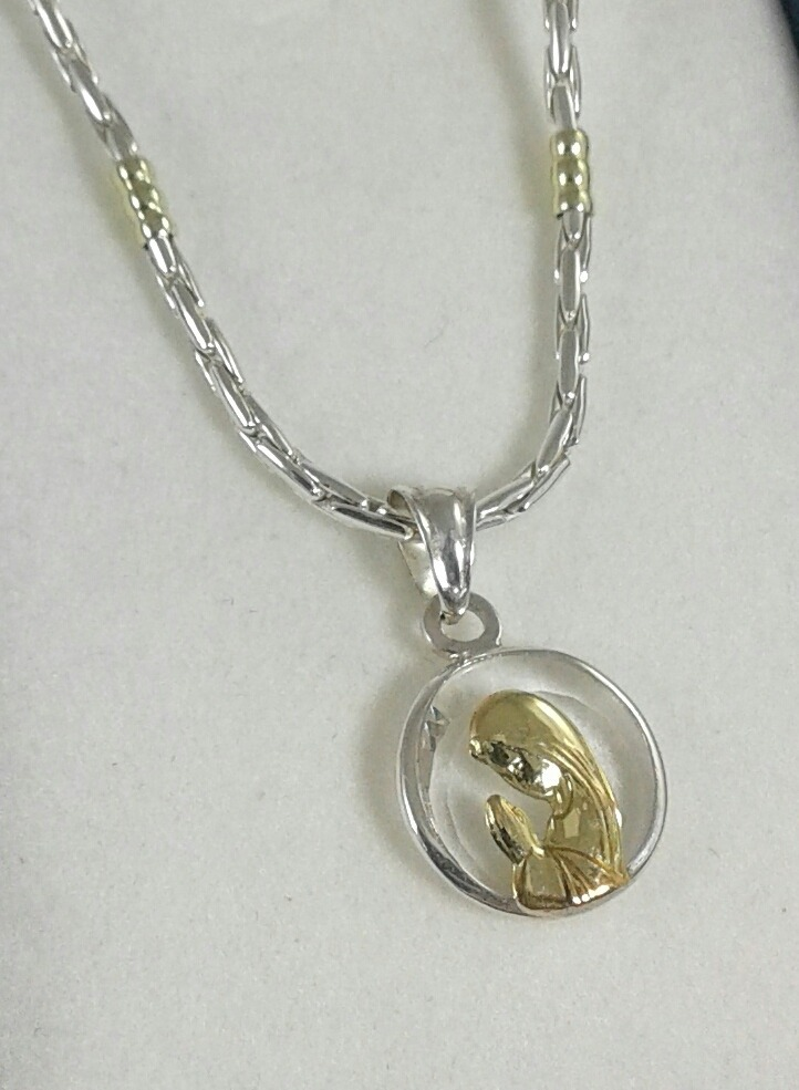 2a306081f997 cadena maciza y medalla virgen niña cristal plata y oro. Cargando zoom.