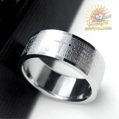 cadena mas dije anillo bíblico padre nuestro grabado
