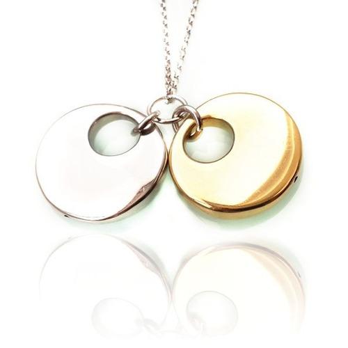cadena monedas bi-tono :: plata blanca y amarilla