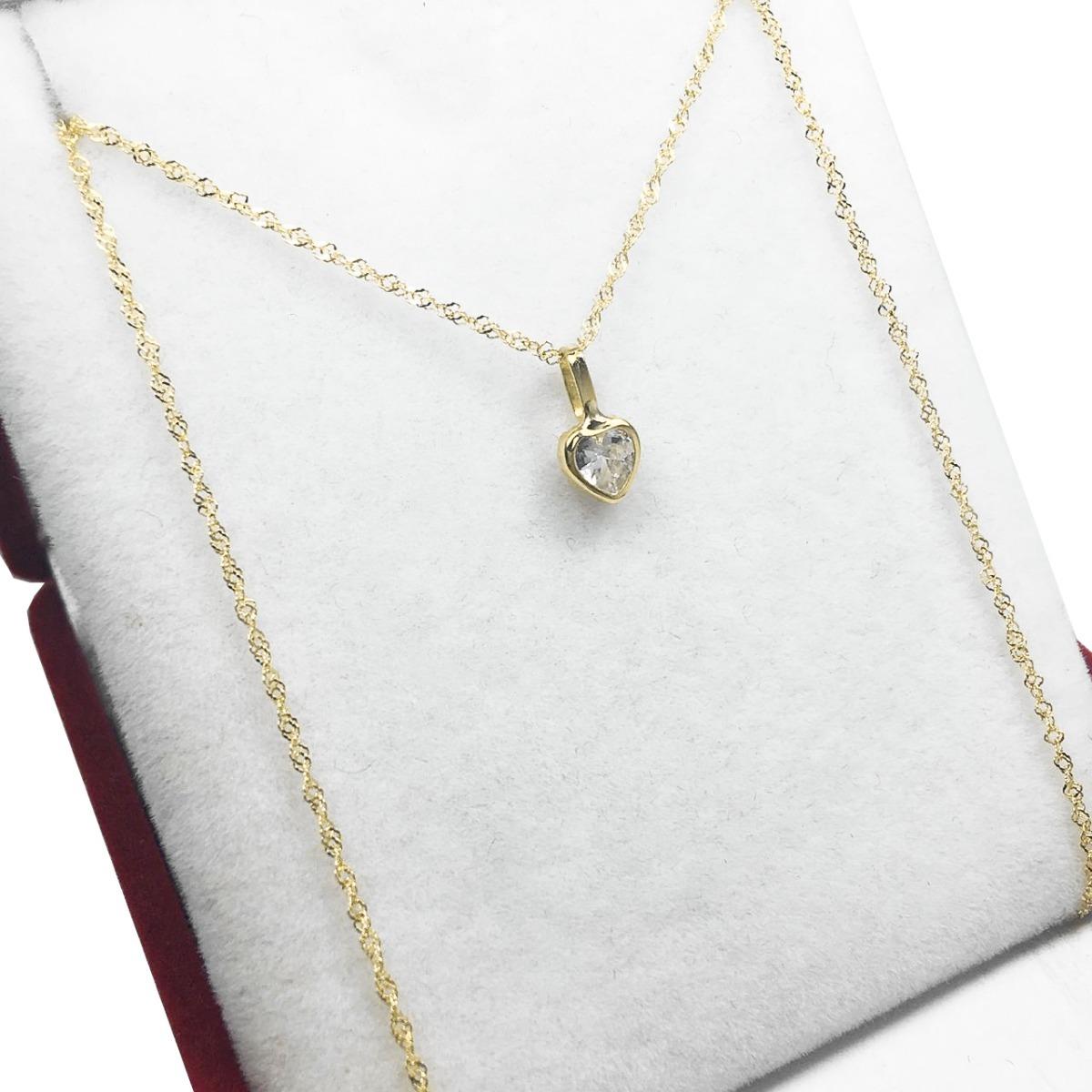 db3615276383 cadena oro 18 k dije corazon piedra 45 cm mujer 15 años. Cargando zoom.