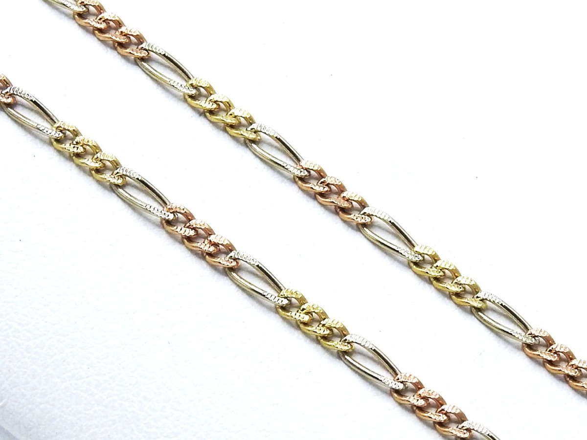 38a2c3e646b1 cadena oro amarillo blanco rosa 14k caballero tejido figaro. Cargando zoom.