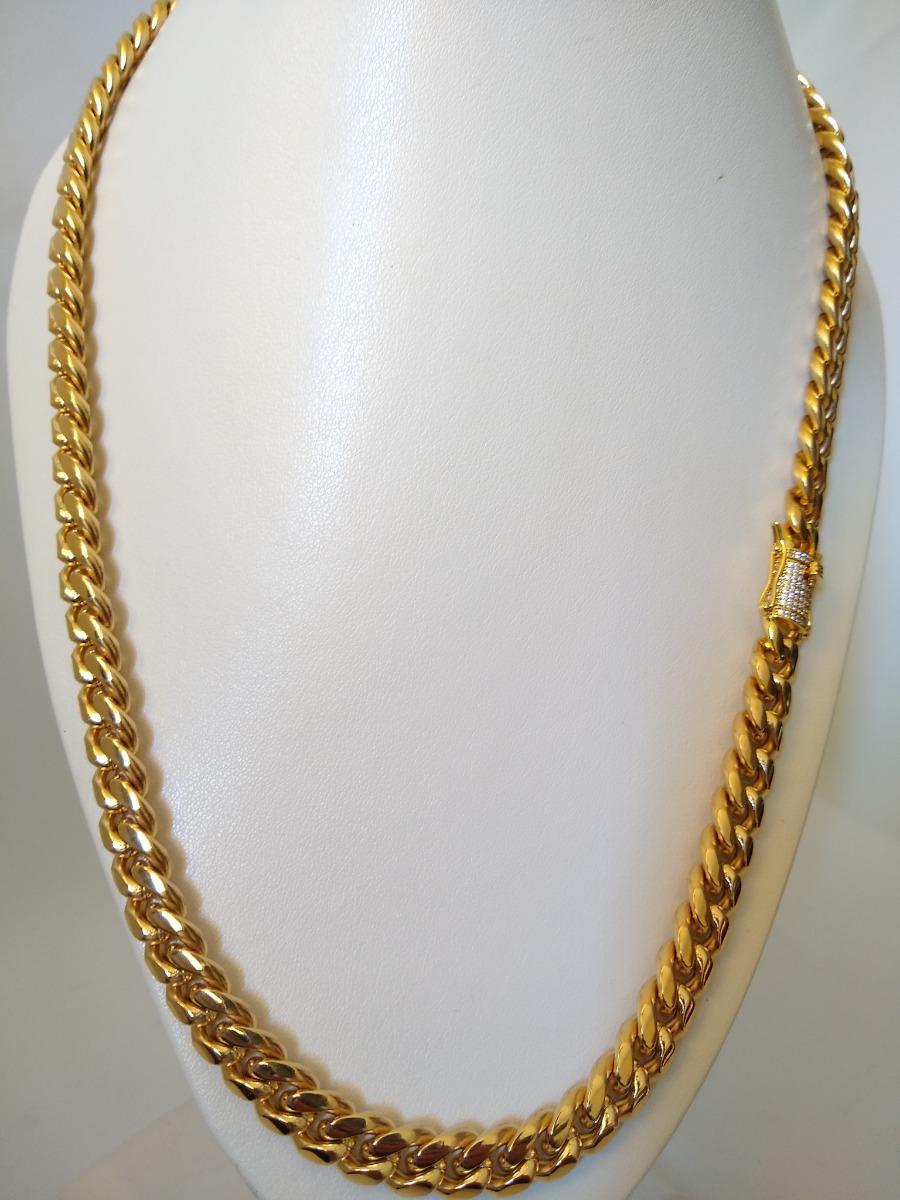 9b4ca7fc7495 cadena para hombre eslabón cubano oro laminado 18k zirconias. Cargando zoom.