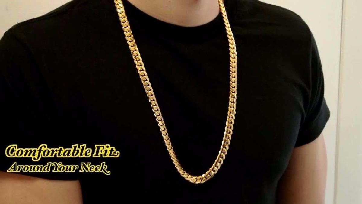 3e283b9503ae cadena para hombre oro 18k laminado 70cm largo rap hiphop. Cargando zoom.