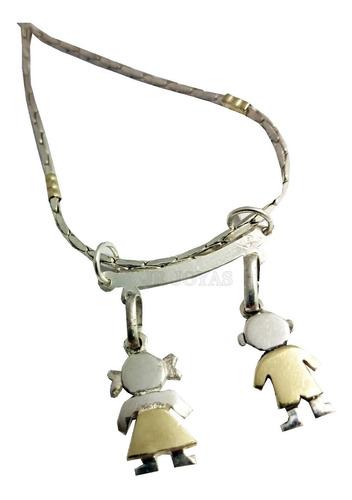 cadena + percha + 2 dijes nene o nena en plata y oro