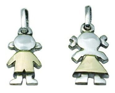 cadena + percha + 3 dijes nene o nena en plata y oro