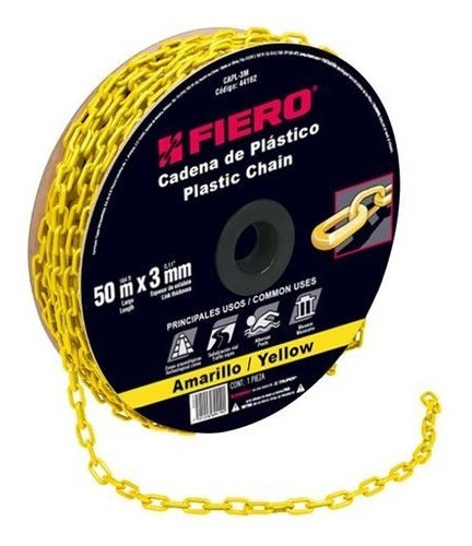 cadena plastica 3 mm x 50 mt amarilla fiero 44162