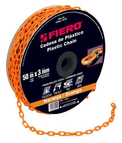 cadena plastica 3 mm x 50 mt naranja fiero 44165