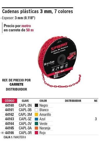 cadena plastica 3 mm x 50 mt roja fiero 44166