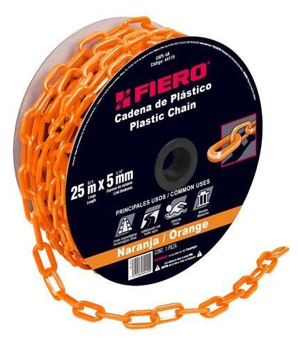 cadena plastica 5 mm x 25 mt naranja fiero 44175