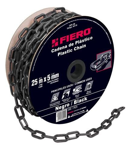 cadena plastica 5 mm x 25 mt negra fiero 44170