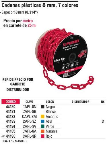 cadena plastica 8 mm x 25 mt blanca fiero 44181