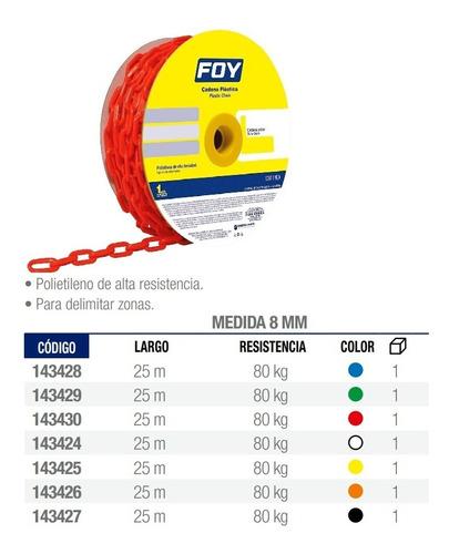cadena plastica color roja, eslabón de  8mm (5/16 pulgadas) 25 metros de largo, codigo 143430, surtek