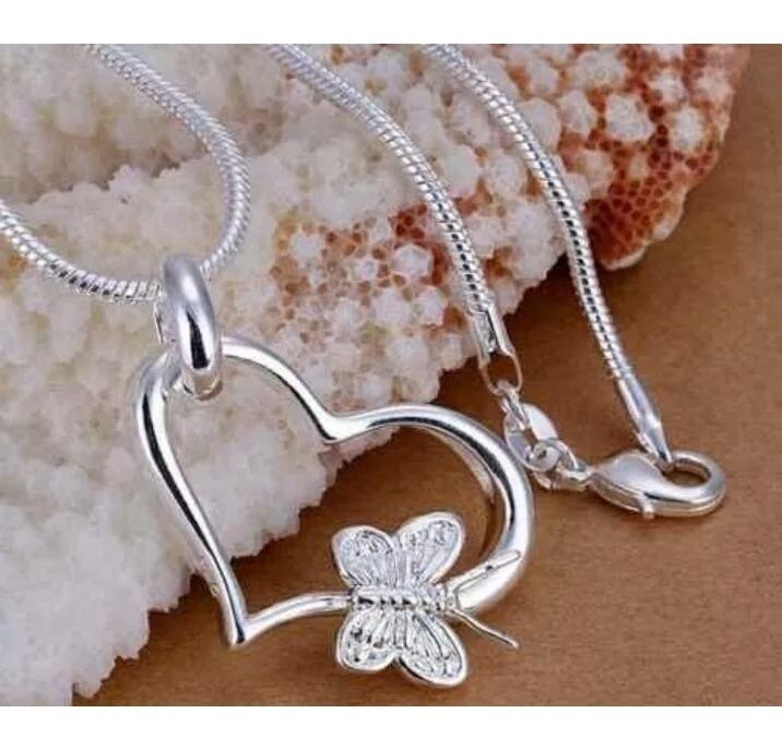Collar Cadena Collar Plata 925 y idea de regalo mariposa corazón cumpleaños