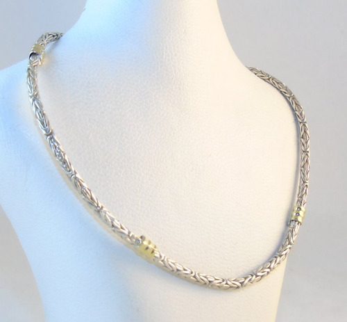 cadena plata 925 maciza c/ oro bizonet 3mm 50cm mujer