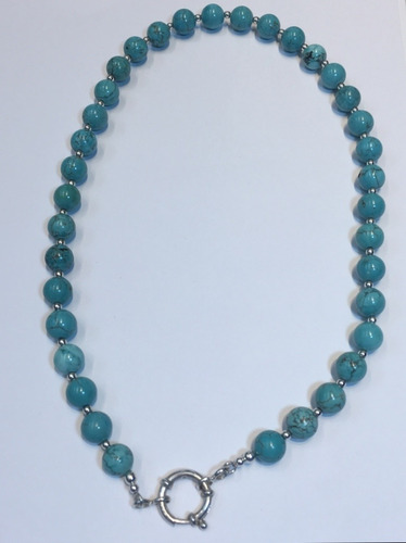 cadena plata 925 piedras naturales turqueza capl175 garantía