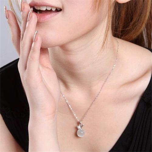 cadena plata collares opalo