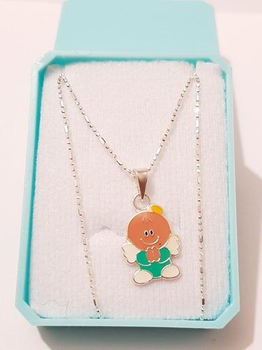 cadena plata dije de angel verde o rosa 45 cm envio gratis