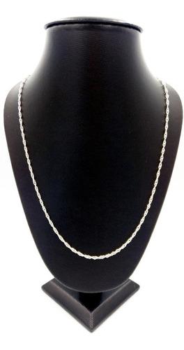 cadena plata fina 925 torsal torzal hombre mujer unisex 60cm