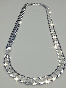 3dd834cf7895 Cadena Plata Italiana 61 Cm Largo 8 Mm De Ancho Martillada