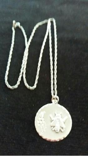 cadena plata maciza con medallon maestra hermoso!
