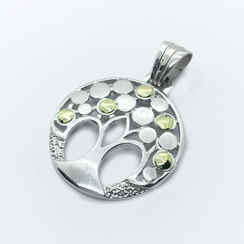 cadena rolo 4,5 mm dije arbol de la vida plata y oro  (i545)