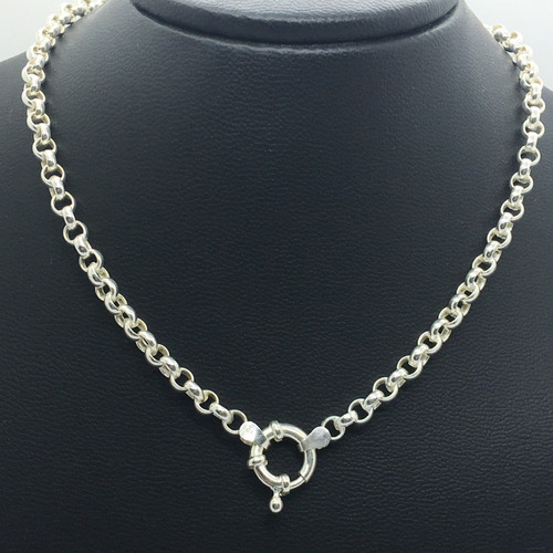 cadena rolo con cristal de swarovski 14 mm dije grabado plata
