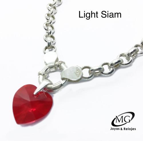 cadena rolo dije corazón cristal de swarovski 18 mm plata