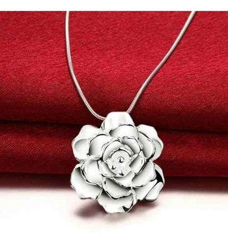 cadena + rosa plata 925 en caja collar regalo mujer