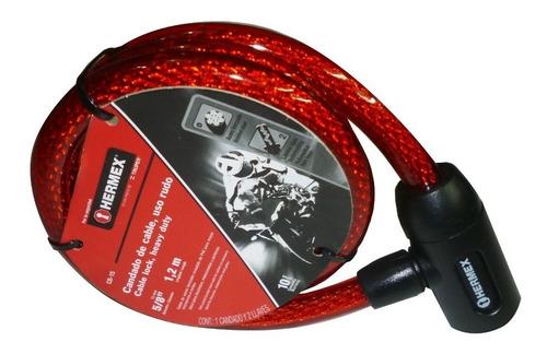 cadena seguridad acerada 120cm hermex  bicicleta moto etc