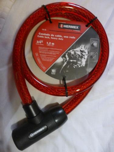 cadena seguridad para moto acerada 120cm x 20 mm hermex