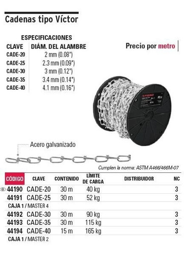 cadena t. victor 3 mm x 30 mt fiero 44192