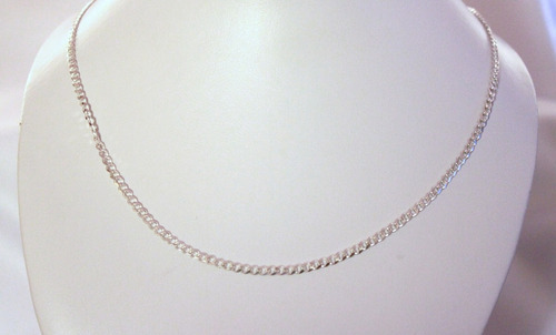 cadena tipo barbado de plata 925 60cm largo 3mm ancho