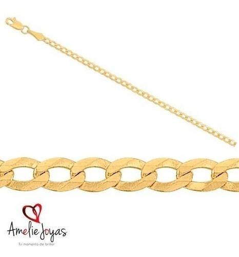 cadena tipo cubana oro 10k-55 cm largo-5 mm ancho