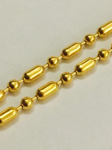 cadena tipo militar acero inoxidable dorada oro dije placas