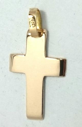 cadena y cruz bombe maciza en oro 18k 45cm co025+abr02