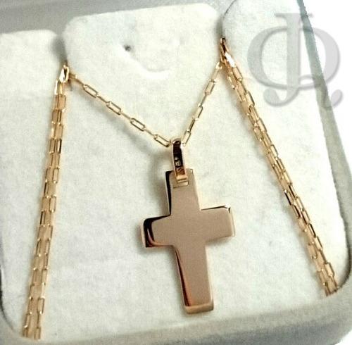 cadena y cruz maciza oro 18k 50cm hombre mujer co025+abr02
