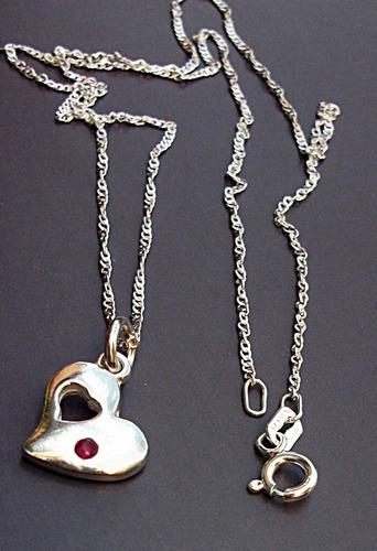 cadena y dije de corazón plata ley salida con rubí natural