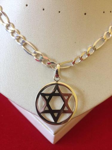 cadena y dije estrella de david en plata