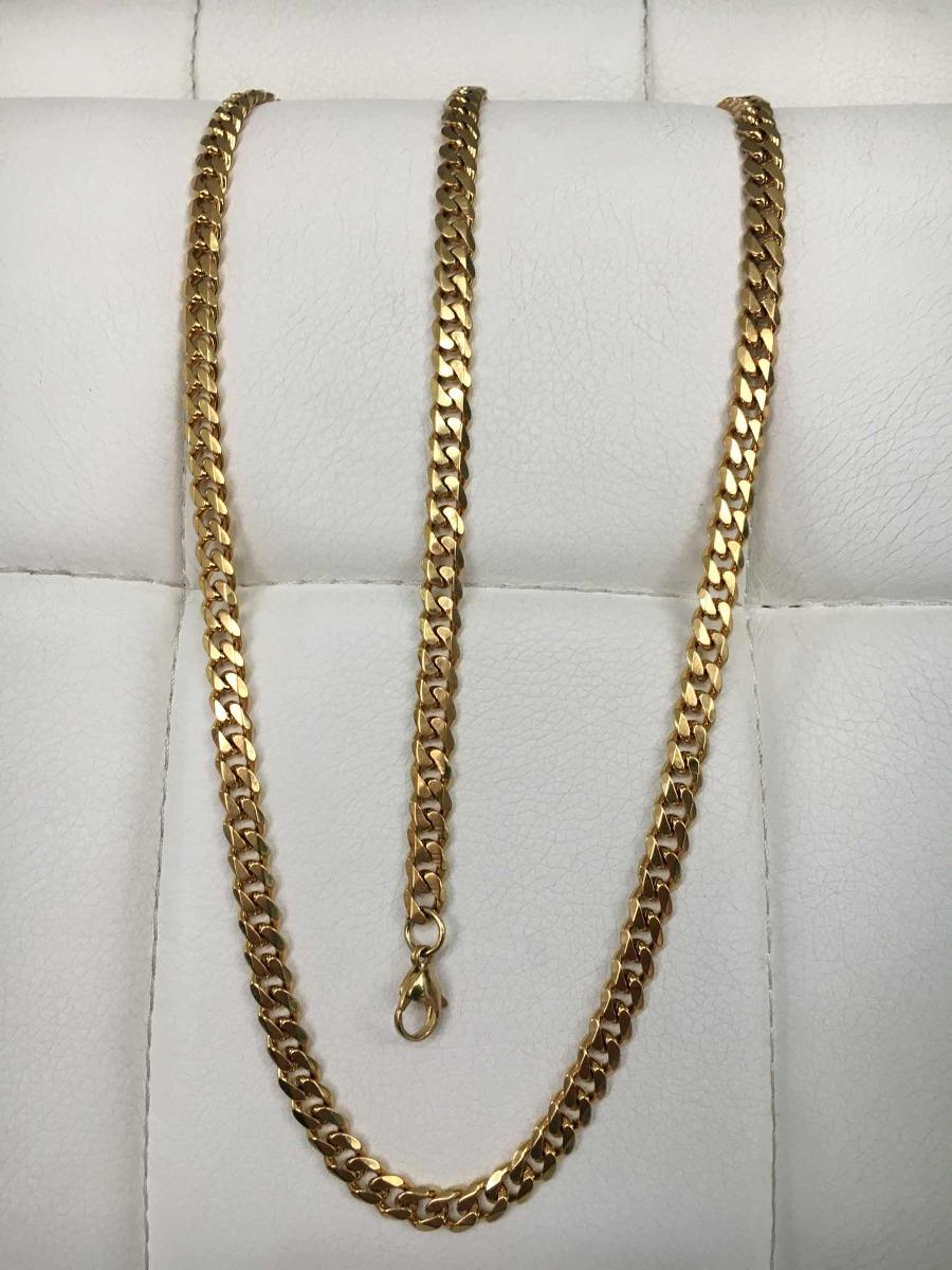 5f4f8c62a827 cadena y esclava tejido cubano acero enchape en oro 18k 24. Cargando zoom.